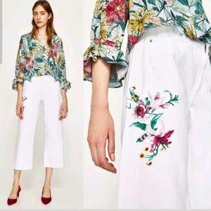 Zara White Basic Z1975 Denim Trouser/Wide Leg